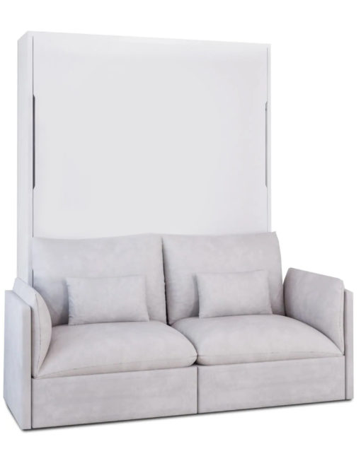 MurphySofa-Adagio-2-seat-Sofa-luxury-soft-sofa-wall-bed-in-white-matte-finish-with-grey-sofa