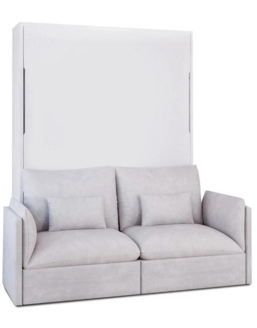 MurphySofa-Adagio-2-seat-Sofa-luxury-soft-sofa-wall-bed-in-white-matte-finish-with-grey-sofa