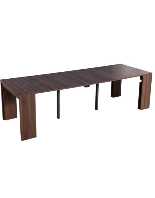 Junior-Giant-Revolution-in-chocolate-walnut-panel-extending-expanding-console-to-dinner-table