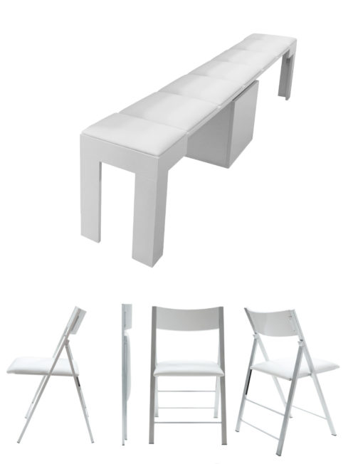 nano chairs and extending bench dining bundle add on in open form