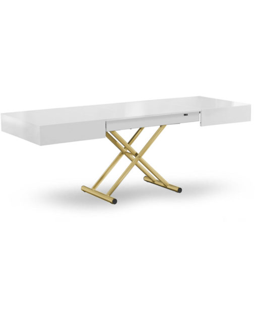 Box-Coffee-extending-table-in-glossy-white-with-gold-satin-legs