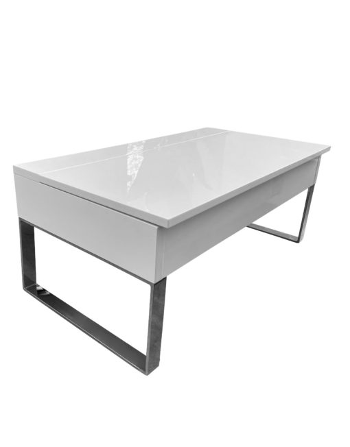 Boost-XL- Extra large storage table with lifting top in glossy white