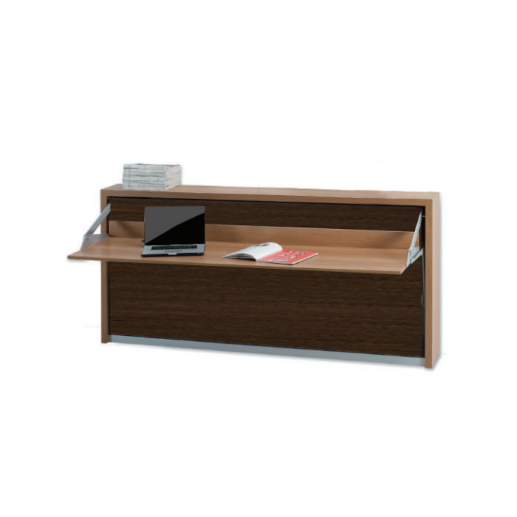 Horizontal Twin Bed With Floating Desk, Twin Murphy Bed Desk Combination
