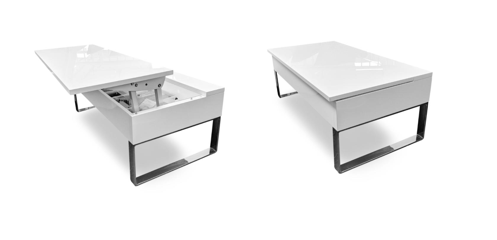 Boost storage lifting coffee table in glossy white from expand furntiure