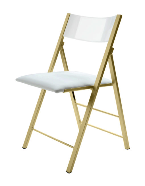 nano folding chair in white gloss with gold legs