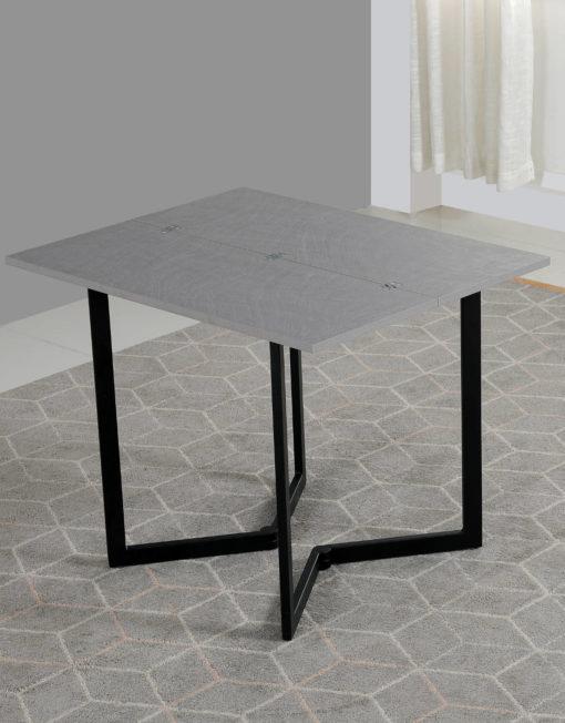 Mini Flip in concrete texture with black legs - transforming apartment furniture
