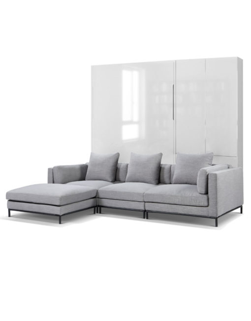 MurphySofa Migliore sectional grey fabric couch combined with murphy bed in glossy white