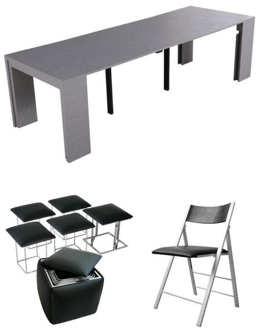 Ultimate set - Revolution concrete - 5 in 1 companion ottoman in black - black nano 4 pack