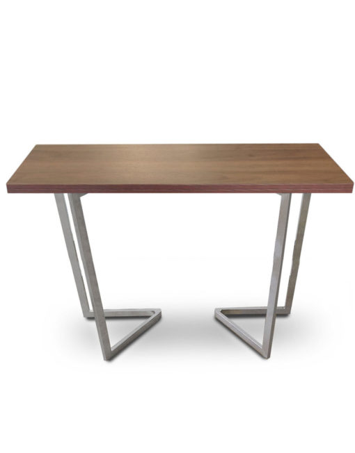 Counter-Height-Flip-Expanding-table in chocolate walnut panel and silver legs
