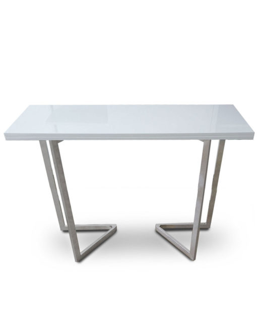 Counter-Height-Flip-Expanding-table in white gloss with silver legs