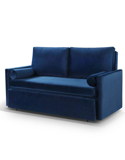 Harmony 2 Love Double sofa bed in Navy Blue fabric with memory foam mattress