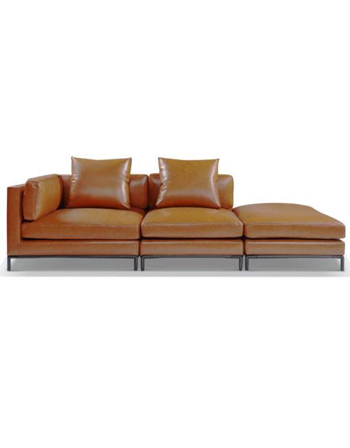 Migliore – Contemporary 3 module sofa - Leather orange brown