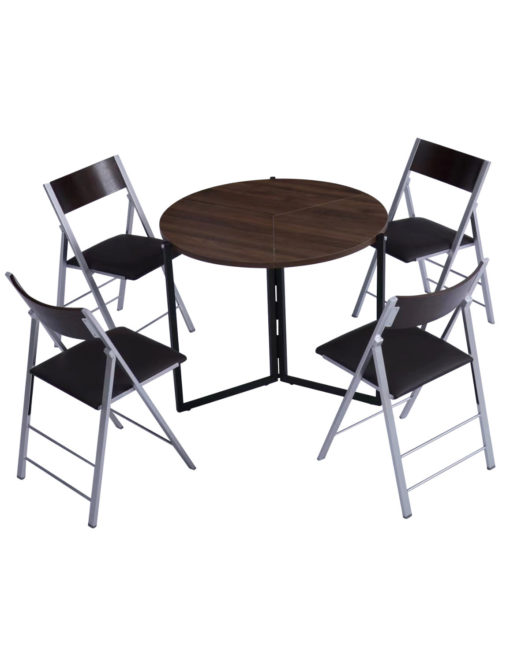 Origami folding round expanded table in Chocolate walnut