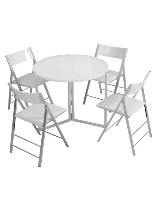 Origami-folding-round-expanded-table-in-white-gloss
