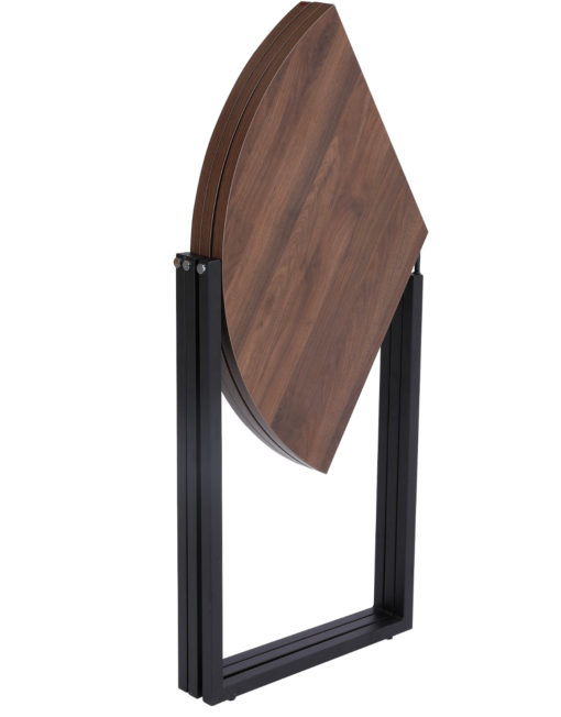 Origami folding round table in chocolate walnut with black legs