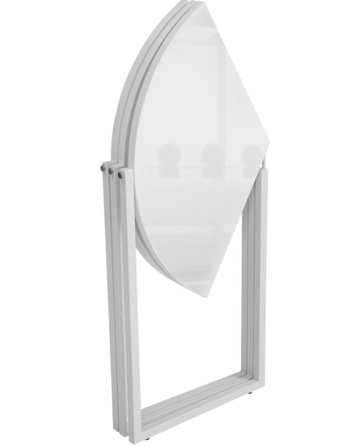 Origami-folding-round-table-in-white-gloss-paint-with-white-legs