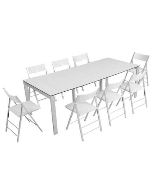 Outdoor Gigante Transformer Table - Extended to with 8 nano chairs in white