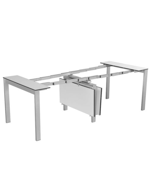 Outdoor Gigante Transformer Table - expanding weatherproof table in white