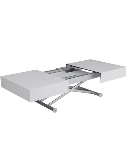 Outdoor box coffee table in flat white with silver legs - outdoor expanding coffee table