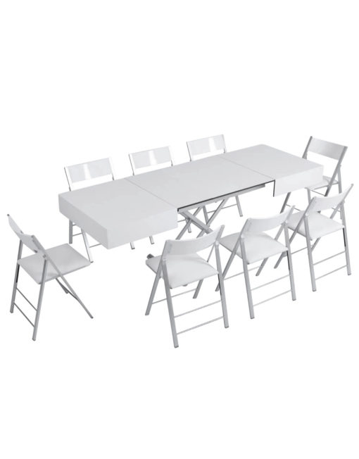 Outdoor box coffee table in flat white with silver legs - outdoor expanding dinner table set with chairs