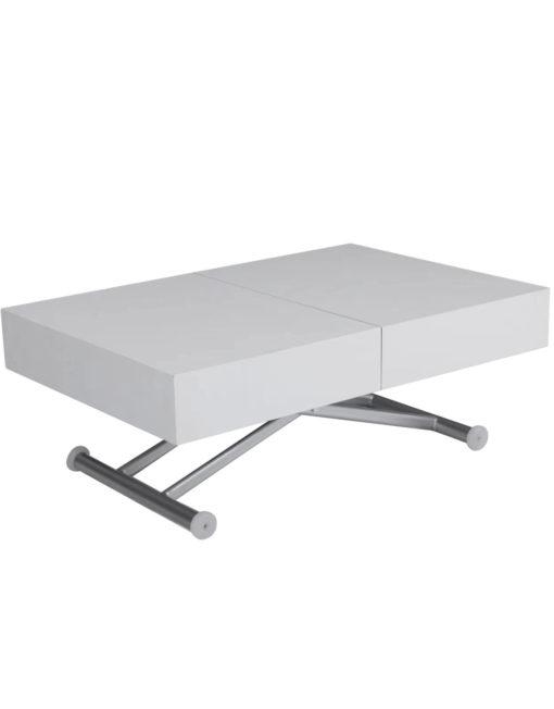 Outdoor box coffee table in flat white with silver legs - outdoor extending coffee table