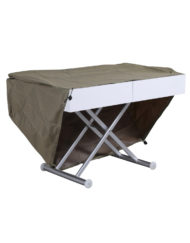 Outdoor box coffee table in flat white with silver legs - patio extending coffee table