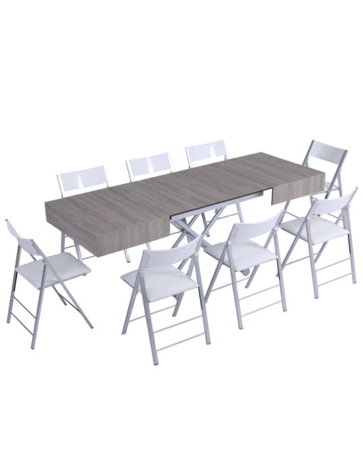 Outdoor box coffee table in grey panel with silver legs - outdoor expanding dinner table set with chairs