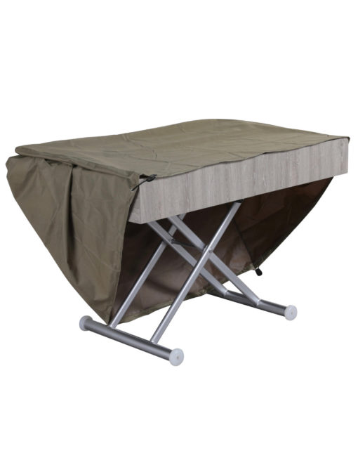 Outdoor-box-coffee-table-in-grey-panel-with-silver-legs-patio-extending-coffee-table