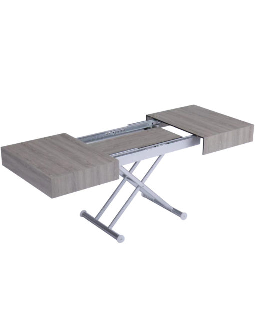 Outdoor box coffee table in grey panel with silver legs - waterproof table transformer