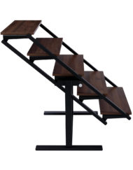 The shelf table - shelving lowers and converts into dinner table - chocolate walnut color