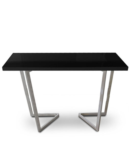 Counter-Height-Flip-Expanding-table in black gloss and silver legs