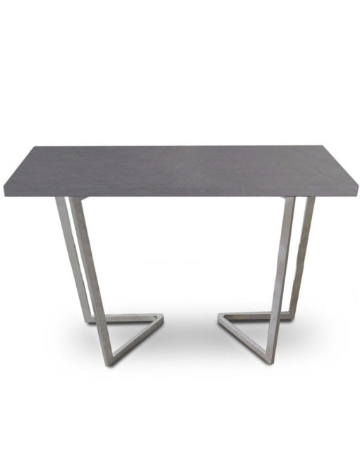 Counter-Height-Flip-Expanding-table in concrete texture and silver legs