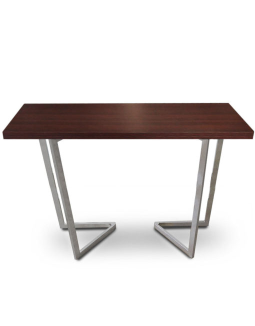 Counter-Height-Flip-Expanding-table in walnut panel and silver legs