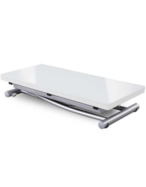 Transforming table evolved - White Grain Panel with glass top and silver legs