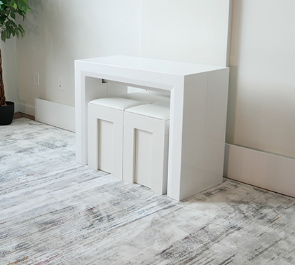 space saving console table in white